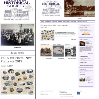 The Chatham Historical Society website, mobile and desktop versions